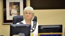 Brampton Mayor Susan Fennell listens to discussion on a forensic audit into her and councillors expenses at a city council meeting in Brampton, August 6, 2014. (J.P. MOCZULSKI/J.P. MOCZULSKI)