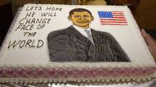 A participant displays a cake with an image of US President-elect Barack Obama during the decorative cake making contest for the upcoming Christmas celebrations in the southern Indian city of Hyderabad Nov. 26, 2008. (Krishnendu Halder/Reuters/Krishnendu Halder/Reuters)