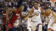 Toronto Raptors guard DeMar DeRozan (10) carries the ball up court against Miami Heat guard Josh Richardson (0) at the Air Canada Centre in Toronto on Friday, Jan. 22, 2016. Toronto defeated Miami 101-81. (John E. Sokolowski/USA Today Sports)