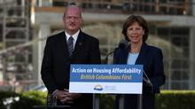 Premier Christy Clark and Finance Minister Michael de Jong discuss housing issues in Greater Vancouver at the legislature in Victoria on July 25, 2016. (CHAD HIPOLITO/THE CANADIAN PRESS)