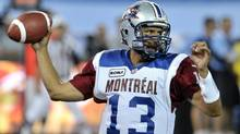 Montreal Alouettes quarterback Anthony Calvillo throws a pass against the Toronto Argonauts during the first half of their CFL football preseason game in Toronto June 19, 2012. (Reuters)
