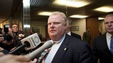 Mayor Rob Ford speaks to the media at City Hall hours after a judge found him guilty of breaching a conflict of interest law on Monday, Nov. 26, 2012 (Matthew Sherwood/The Globe and Mail)