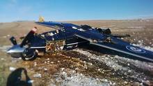 A crashed CT156 Harvard II is shown south of CFB Moose Jaw, Sask., in this recent handout photo. (HO/THE CANADIAN PRESS)