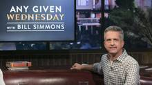"This image released by HBO shows Bill Simmons on the set of ""Any Given Wednesday with Bill Simmons."" HBO canceled the weekly talk show is ending its run after less than five months. (Jordin Althaus/AP)"