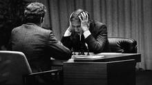 Bobby Fischer (right) playing against Boris Spassky (Courtesy Mongrel Media)