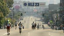 The LA Marathon passes such landmarks as the Staples Centre, the University of South California and the Los Angeles County Art Museum. (Stephen Dunn/Getty Images)