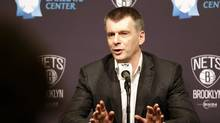 Brooklyn Nets owner Mikhail Prokhorov speaks during an NBA basketball news conference in New York, Monday, Jan. 11, 2016. The Nets reassigned their general manager and fired coach Lionel Hollins on Sunday in the midst of their worst season since moving from New Jersey. (Seth Wenig/AP)