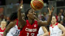 Forward Tamara Tatham had a game-high 17 points and nine rebounds to lead Canada past Cuba 53-40 on Wednesday. In this file photo,Tatham goes for a loose ball against Britain during women's basketball action at the 2012 Summer Olympic Games in London, England Monday, July 30, 2012. (KEVIN VAN PAASSEN/THE GLOBE AND MAIL)