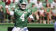 Saskatchewan Roughriders quarterback Darian Durant showed up to practice Monday with a walking boot on his sprained right foot. Durant left Thursday's 39-28 win over the Toronto Argonauts in the fourth quarter. (file photo) (LIAM RICHARDS/THE CANADIAN PRESS)