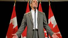 Liberal Leader Michael Ignatieff speaks to reporters on the final day of the party's summer caucus retreat in Sudbury on Sept 2, 2009. (Sean Kilpatrick/The Canadian Press)