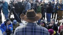 Ammon Bundy, one of the sons of Nevada rancher Cliven Bundy, speaks to reporters during a news conference at Malheur National Wildlife Refuge Jan. 6, 2016, near Burns, Ore. (Rick Bowmer/AP)