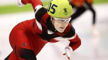 Canada's Jessica Gregg competes in the women's 500 metre heats in the short track speedskating competition at the 2010 Vancouver Olympic Winter Games in Vancouver on Saturday February 13, 2010. (Paul Chiasson/THE CANADIAN PRESS)