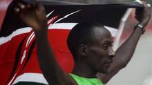 Kenya's Kenneth Mungara won the race for the fourth straight year at the Scotiabank Toronto Waterfront Marathon on October 16, 2011 in downtown Toronto. (Michelle Siu for Globe and Mail) (Michelle Siu)