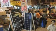 Pictures from the Hall Road computer market in Lahore where solar panels are the latest niche produce for Lahoris looking for a solution to the electricity crisis. (Affan Chowdhry/The Globe and Mail)