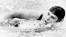 Elaine Tanner of Vancouver heads for a world record in the 220-yard medley in July, 1966. She swam the distance in 2:33.3 during a time trial. The previous listed record was 2:33.6. (The Canadian Press)