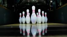 Pins lined up at All Star Interactive, a bowling and entertainment centre in Torono (Rosa Park for The Globe and Mail)