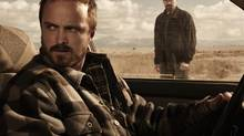Bryan Cranston and Aaron Paul in a scene from Breaking Bad.