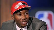 Ed Davis of the University of North Carolina smiles after being selected by the Toronto Raptors as the 13th overall pick in the 2010 NBA Draft in New York, June 24, 2010. (LUCAS JACKSON)