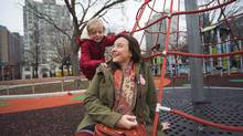 Erin Filby and her son, Teddy Filby-Thorne, play in a Toronto park. Filby left work to care for her son and is now studying to be an early childhood educator. (JENNIFER ROBERTS FOR the globe and mail)