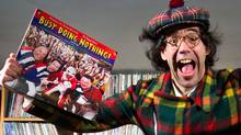 Nardwuar the Human Serviette holds his new album Busy Doing Nothing! while posing for a photograph at Neptoon Records in Vancouver on Tuesday Feb. 28, 2012. (Darryl Dyck for The Globe and Mail/Darryl Dyck for The Globe and Mail)
