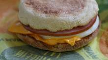 A McDonald's Egg McMuffin is displayed at a McDonald's restaurant on July 23, 2015 in Fairfield, California. (Justin Sullivan/Getty Images)