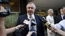 In this file photo, Phoenix Coyotes owner Jerry Moyes speaks to reporters as he leaves U.S. Federal Bankruptcy Court in Phoenix, Arizona September 23, 2009. (JOSHUA LOTT/REUTERS)