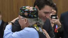 Canadian Prime Minister Justin Trudeau meets with Metis National Council president Clement Chartier during the Crown-Metis Nation Summit in Ottawa, Thursday April 13, 2017. (Adrian Wyld/THE CANADIAN PRESS)