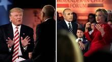 Republican presidential nominees Donald Trump and Hillary Clinton speak to Matt Lauer during the Commander in Chief Forum in Manhattan, September 7, 2016. (Mike Segar/Justin Sullivan/REUTERS/GETTY)