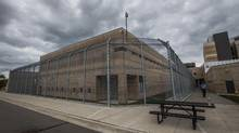 Portable trailers were installed Thursday at Toronto South Detention Centre's in advance of 12:01 a.m. Sunday strike deadline. (Mark Blinch for The Globe and Mail)