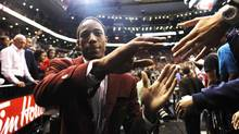 Toronto Raptors player DeMar DeRozan acknowledges the crowd after his team's last NBA home game against the New Jersey Nets in Toronto, April 26, 2012. (MARK BLINCH/REUTERS)