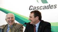 Cascades Inc. president and CEO Alain Lemaire, left, with his successor Mario Plourde at a press conference in Montreal. (Cascades)