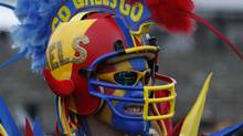 A Queen's University Golden Gaels fan supports his school against the University of Calgary Dinos during the second half of the CIS Vanier Cup college football game at Laval University in Quebec City, November 28, 2009. (MATHIEU BELANGER/REUTERS)