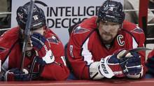 Washington Capitals left wing Alex Ovechkin sits on the bench in the final minutes of the third period during Game 7 of their NHL Eastern Conference quarter-final playoff hockey game against the New York Rangers in Washington May 13, 2013. (KEVIN LAMARQUE/REUTERS)