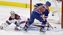 Phoenix Coyotes goalie Mike Smith (41) is scored on by Edmonton Oilers' Sam Gagner during the shootout in NHL action in Edmonton, Alta., on Saturday February 23, 2013. (JASON FRANSON/THE CANADIAN PRESS)
