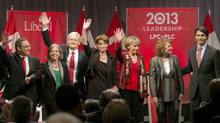 Federal Liberal Party leadership candidates wave to the crowd after a debate in Halifax, March 3, 2013. (Devaan Ingraham/REUTERS)
