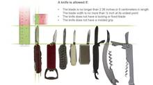 An image courtesy of the TSA shows the types of knives that airline passengers will be allowed to carry. The U.S. Transportation Security Administration said that travelers can soon bring small pocket knives on board airplanes for the first time since the Sept. 11 attacks, sparking outrage from flight attendants who said the decision would endanger passengers and crew. (HANDOUT/Reuters)