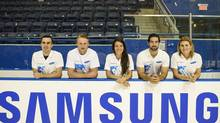 From left, Michael Gilday, men's short track speed skater, Steven Stamkos, men's ice hockey player, Marie-Eve Drolet, women's short track speed skater, Greg Westlake, men's ice sledge hockey player, and Hayley Wickenheiser, women's ice hockey player. (Samsung)