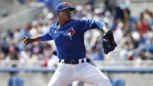 Toronto Blue Jays relief pitcher Marcus Stroman throws a pitch during the first inning against the Tampa Bay Rays at Florida Auto Exchange Park. (Kim Klement/USA Today Sports)