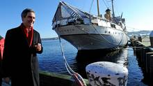 Liberal Leader Michael Ignatieff walks along the waterfront during a campaign stop in Halifax on April 4, 2011. (Nathan Denette/THE CANADIAN PRESS)