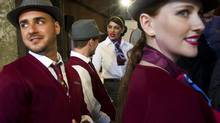 Models show off Air Canada rouge's newly unveiled uniforms. (Kevin Van Paassen/The Globe and Mail)