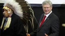 Prime Minister Stephen Harper at a luncheon in Stand Off, Alta., on Feb. 7, 2014. (LARRY MacDOUGAL/THE CANADIAN PRESS)