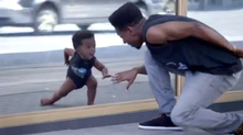 Evian's new spot is entitled Baby & Me , and once again uses a retro hip hop track to motivate the digitally produced dancing tykes.