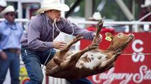 Matt Shiozawa, from Chubbuck, Idaho, ropes a calf to win the tie-down roping event on the final day of the Calgary Stampede in Calgary, Sunday, July 18, 2010. (Jeff McIntosh/The Canadian Press)