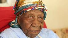 The world's oldest person Violet Brown poses for a photo at her home in Duanvale, Jamaica, on April 16, 2017. (Raymond Simpson/AP)