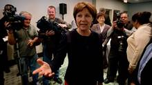 B.C. Premier Christy Clark arrives for a candidate caucus meeting in Vancouver, B.C., on Thursday May 23, 2013, after winning a majority in the provincial election earlier this month.
