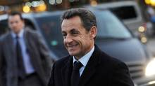 French President Nicolas Sarkozy arrives in Frankfurt, Germany, Wednesday, Oct. 19, 2011 (Thomas Lohnes)