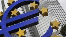The year-on-year inflation rate in the 18 countries sharing the euro slowed to 0.7 per cent in February from 0.8 per cent in January, the European Union's statistics office Eurostat said. (Alex Domanski/Reuters)