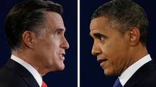 Republican presidential nominee Mitt Romney and President Barack Obama speak during their first presidential debate at the University of Denver, Colo. (AP)