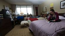 Roommates Joya Mukherjee, left, and Bianca Ponziani share a standard double room - each have a queen-sized bed - at McGill University's newest student residence, formerly a Four Points Sheraton. (Christinne Muschi/christinne muschi)