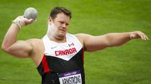 Canada's Dylan Armstrong narrowly qualified for the men's shot put finals at the 2012 Summer Olympics in London, England August 3, 2012. (Kevin Van Paassen/The Globe and Mail)